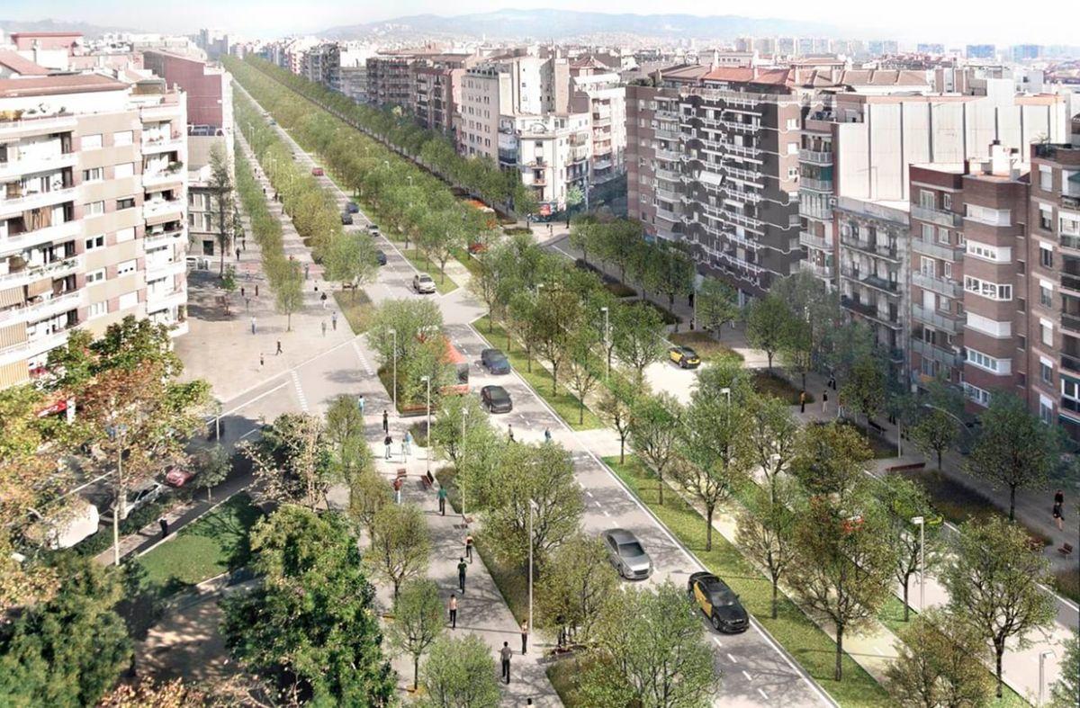 Imagen ilustrativa del aspecto de la avenida Meridiana después de las obras de remodelación